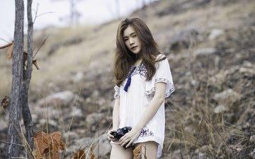 девушка, настроение, взгляд, камера, азиатка