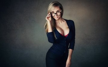 девушка, взгляд, очки, юбка, декольте, кофточка, настя, шон арчер