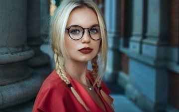 girl, look, glasses, face, red lipstick, braids