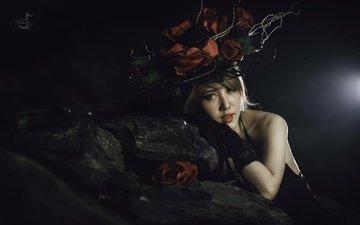 цветы, стиль, девушка, настроение, розы, взгляд, шляпка, азиатка
