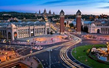 дорога, башни, архитектура, испания, барселона