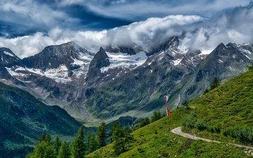 дорога, трава, облака, деревья, горы, скалы, склон, швейцария, ущелье, долина, альпы