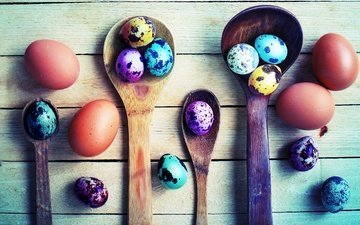 board, easter, eggs, spoon, wooden spoon