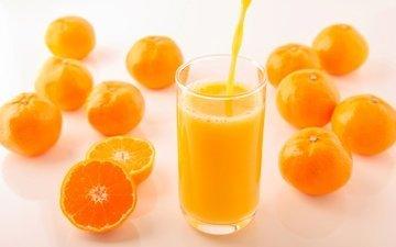 фрукты, стакан, мандарины, цитрусы, сок