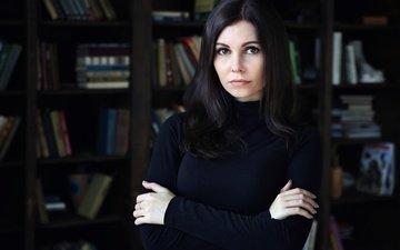 глаза, девушка, брюнетка, взгляд, книги, фильм, красивая, умная, незнакомка