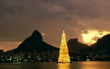 горы, елка, город, бразилия, рио-де-жанейро