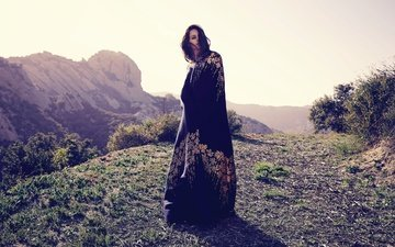 mountains, the sun, landscape, dress, brunette, singer, photoshoot, lana del rey