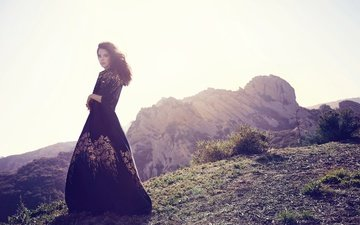 mountains, the sun, dress, brunette, singer, photoshoot, lana del rey