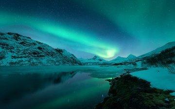 небо, горы, зима, северное сияние, норвегия, лофотенские