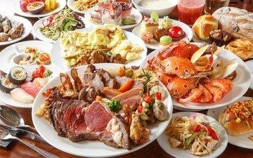 хлеб, мясо, краб, десерт, суши, морепродукты, ассорти, блюда, омлет