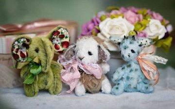 цветы, игрушки, жираф, овечка, слоник, зверушки, милые
