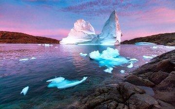 камни, берег, море, лёд, айсберг