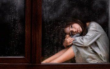 капли, грусть, взгляд, дети, девочка, дождь, волосы, лицо, окно, стекло