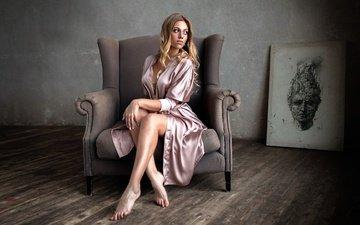 девушка, картина, блондинка, комната, ножки, кресло, катя, екатерина гутовская