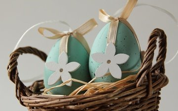 basket, easter, eggs, holiday, decor