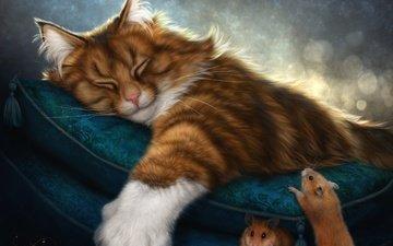 арт, кот, сон, рыжий, мыши, подушка