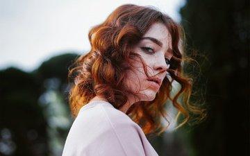 девушка, взгляд, волосы, локоны, веснушки, рыжеволосая, michael farber