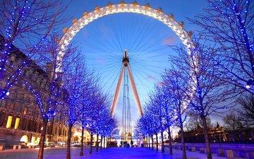 свет, вечер, лондон, колесо обозрения, город, англия, аттракцион