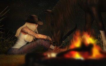 лошадь, вечер, девушка, джинсы, тату, костёр, шляпа