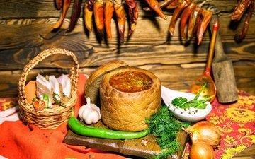 лук, хлеб, укроп, перец, борщ, чеснок, суп, блюда, сало