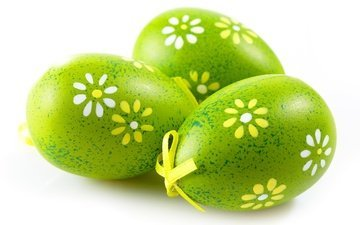 macro, green, white background, easter, eggs, bow