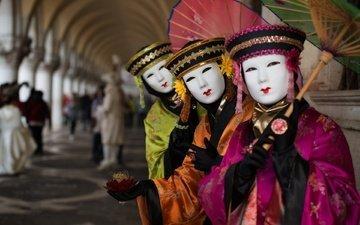 маска, люди, венеция, италия, зонт, костюм, карнавал