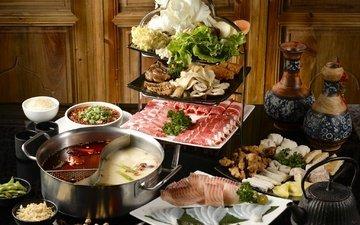 зелень, мясо, рыба, десерт, морепродукты, суп, ассорти, блюда