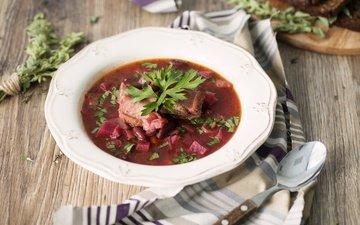 зелень, мясо, тарелка, борщ, суп