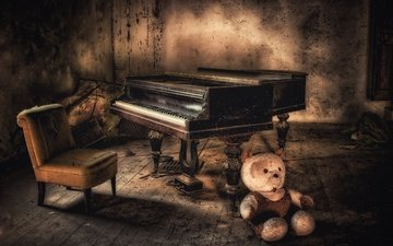 bear, chair, piano