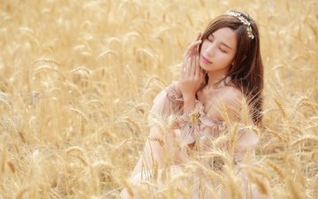 girl, mood, field, ears, hair, asian, closed eyes