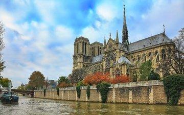 небо, река, париж, франция, собор парижской богоматери, сена