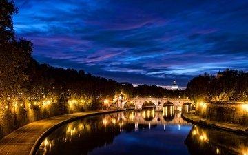 ночь, деревья, фонари, огни, река, мост, канал, италия, рим, тротуар