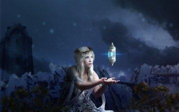 ночь, девушка, блондинка, волшебство, магия