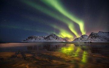 ночь, горы, отражение, северное сияние, норвегия