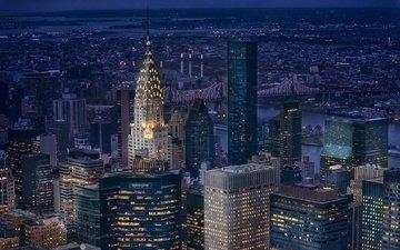 ночь, огни, небоскребы, сша, нью-йорк, манхэттен