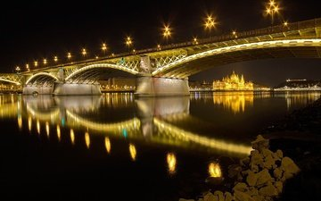 ночь, огни, река, венгрия, будапешт, парламент, дунай