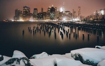 ночь, огни, снег, зима, город, сша, нью-йорк
