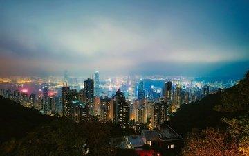 ночь, огни, вид, панорама, небоскребы, дома, китай, гон-конг