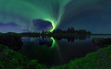ночь, озеро, река, отражение, звезды, северное сияние, дома