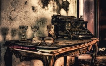 retro, glasses, table, typewriter