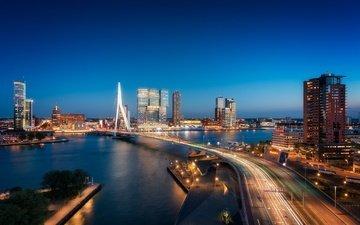 ночь, огни, река, мост, дома, ночной город, опора, нидерланды, голландия, роттердам