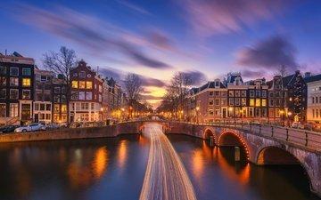 огни, вечер, город, канал, здания, мосты, выдержка, нидерланды, амстердам, мост нидерланды