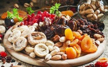 орехи, еда, миндаль, фисташки, изюм, инжир, курага, сухофрукты, финики