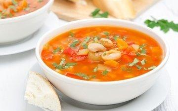 хлеб, овощи, миска, суп