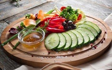 зелень, овощи, перец, соус, закуска, маслины, огурец