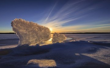 the sky, lake, sunset, winter, ice, finland, lake karijärvi, jaala