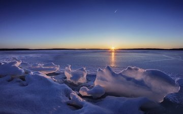 the sky, lake, sunset, winter, horizon, ice, finland, lake karijärvi