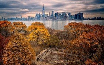 парк, осень, небоскребы, сша, нью-йорк, манхэттен