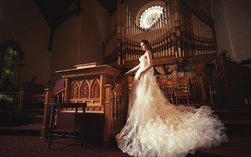 девушка, платье, модель, волосы, белое платье, свадебное платье, кайл цун, кайл цун.свадебное платье