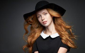 девушка, портрет, взгляд, волосы, шляпа, рыжеволосая, alexander vinogradov